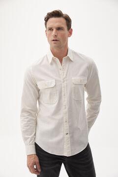 Pedro del Hierro Organic cotton two-pocket Oxford shirt Ecru
