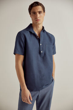 Pedro del Hierro Short-sleeved linen/cotton polo shirt Blue