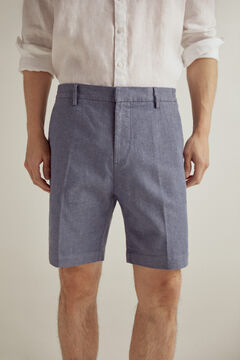 Pedro del Hierro Elasticated back waistband Bermuda shorts with sustainable linen Blue