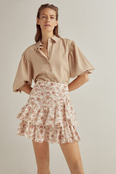 Pedro del Hierro Printed linen skirt Ivory