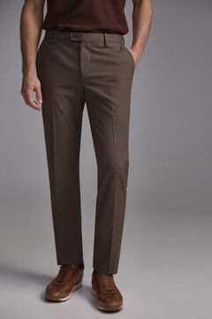 Pedro del Hierro Premium Flex Slim Micro Drawing Chinese Pants Brown