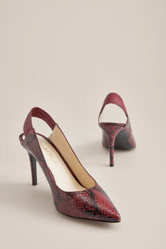 Pedro del Hierro Snakeskin effect leather heeled shoe Red