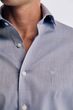 Pedro del Hierro Plain slim fit non-iron shirt Blue