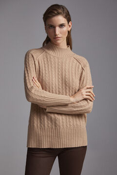 Pedro del Hierro Cable knit mock turtleneck jumper Beige