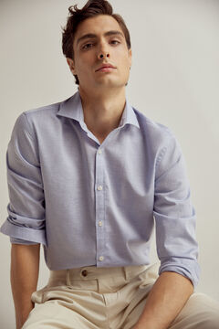 Pedro del Hierro Plain stretch linen and cotton shirt  Blue