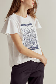 Pedro del Hierro Printed appliqué bell sleeve T-shirt Ivory