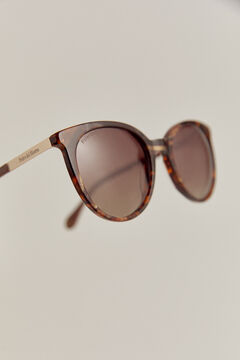 Pedro del Hierro Essential tortoiseshell sunglasses with dusty pink temples. Brown
