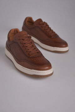 Pedro del Hierro Leather sneaker with logo Brown