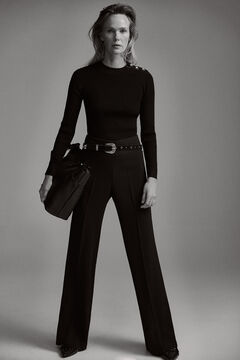 Pedro del Hierro Wide leg trousers Black