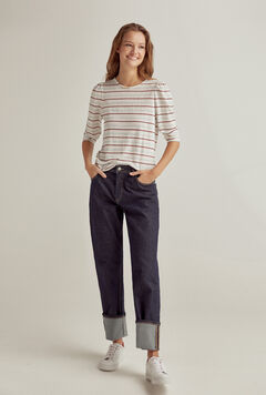 Pedro del Hierro Long-sleeved linen woven stripe t-shirt Several