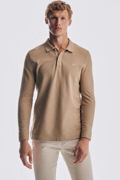 Pedro del Hierro Long-sleeved polo shirt Beige