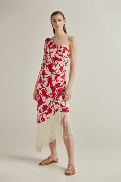 Pedro del Hierro Fringed crossover dress Beige