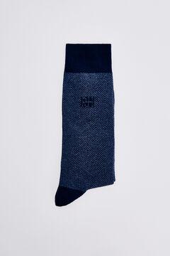 Pedro del Hierro Herringbone logo socks Blue