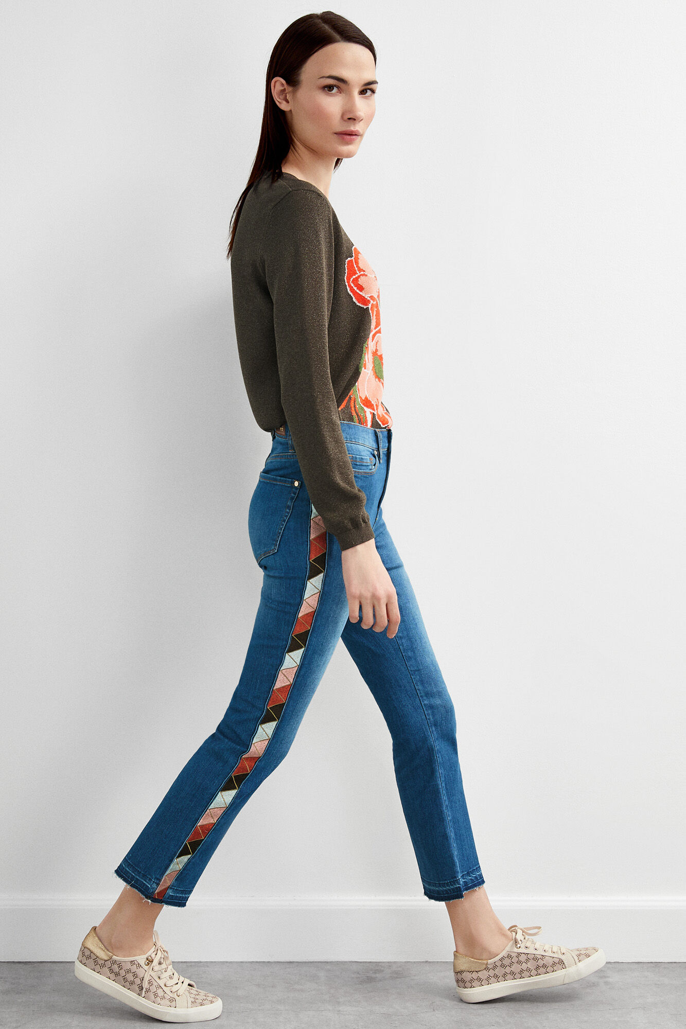 Fit Hierro Del Manamp; Woman Pedro JeansTrousers Straight Cropped oBrdCxe