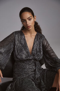 Pedro del Hierro V-neck overlap dress with short flounced drape skirt, in silver and black lurex. Grey