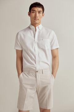 Pedro del Hierro Plain short-sleeved TX Fresh non iron shirt White