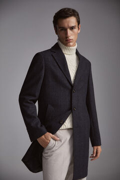 Pedro del Hierro Blue checked coat Blue