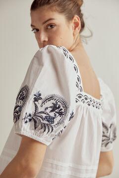 Pedro del Hierro Contrast embroidery blouse Blue