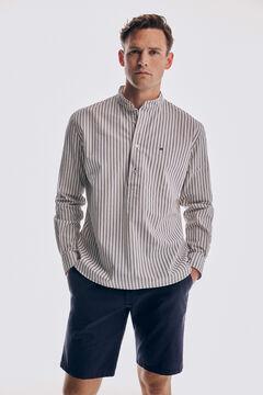 Pedro del Hierro Striped mandarin collar polo shirt Ecru