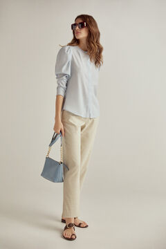 Pedro del Hierro Pleated sleeves shirt Blue