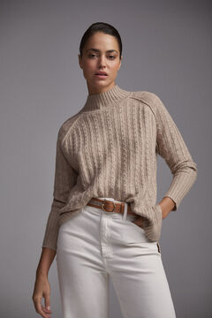 Pedro del Hierro Cable knit mock turtleneck jumper Brown