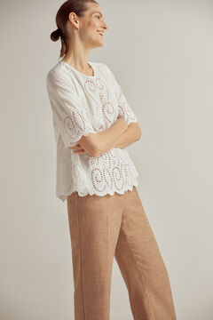 Pedro del Hierro Top with embroidery and ribbons Beige