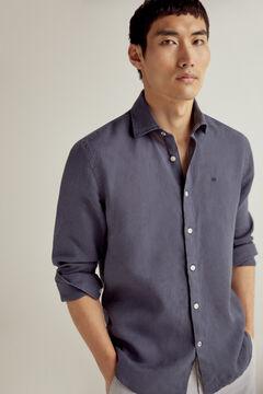 Pedro del Hierro 100% linen plain shirt Blue