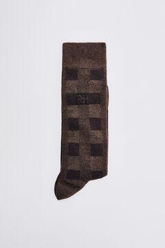 Pedro del Hierro Checked logo socks Brown