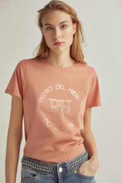 Pedro del Hierro Short-sleeved organic cotton logo t-shirt Red