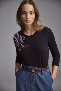 Pedro del Hierro Crew neck jumper with paisley motif embroidery  Blue