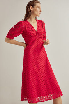 Pedro del Hierro Knot-front cutwork dress Red
