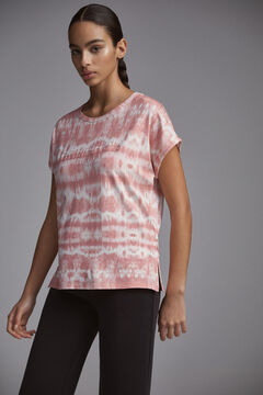 Pedro del Hierro Camiseta estampada tie dye logo bordado Rosa