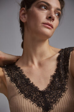 Pedro del Hierro Strappy top with lace Beige