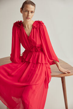 Pedro del Hierro Floral chiffon dress Red