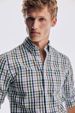 Pedro del Hierro Camisa xadrez tech non-iron algodão Verde