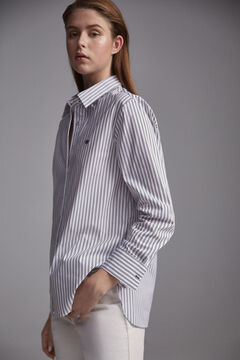 Pedro del Hierro Striped poplin shirt. Blue