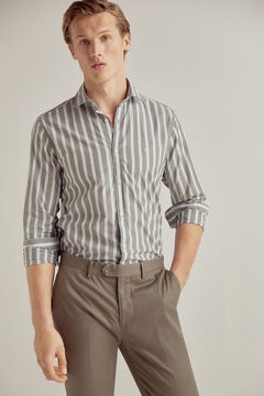 Pedro del Hierro Striped stretch cotton and linen shirt  Green