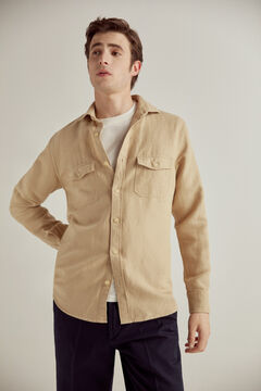 Pedro del Hierro Plain shirt two pockets 100% linen Beige
