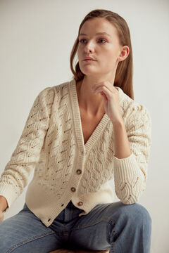 Pedro del Hierro Herringbone and openwork V-neck jacket Beige