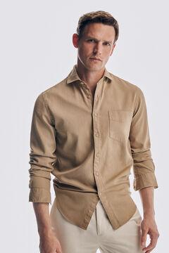 Pedro del Hierro Camisa estructura tintada algodón orgánico Beige