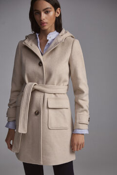 Pedro del Hierro Hooded duffle coat Brown