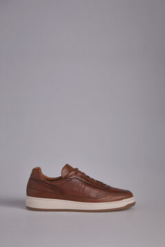 Pedro del Hierro Leather espadrille with logo  Brown