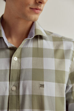 Pedro del Hierro Gingham stretch cotton and linen shirt Green