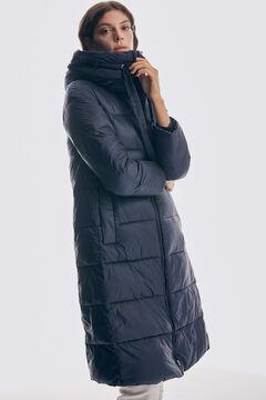 Pedro del Hierro Long hooded maxi parka Blue