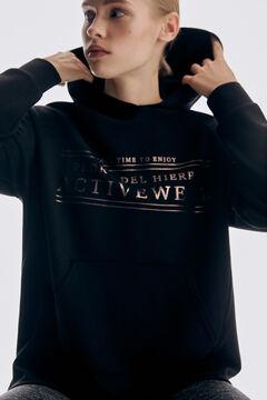 Pedro del Hierro Soft feel hooded sweatshirt Black