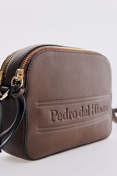 Pedro del Hierro Leather crossbody bag with two zipped compartments Brown