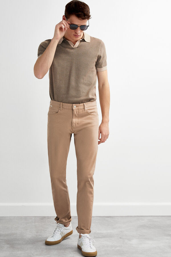 f4a3193d4f364 Pedro del Hierro Denim slim fit trousers Beige