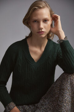 Pedro del Hierro V-neck cable knit jumper Green