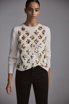 Pedro del Hierro Diamond jumper with embroidered sequins Ecru