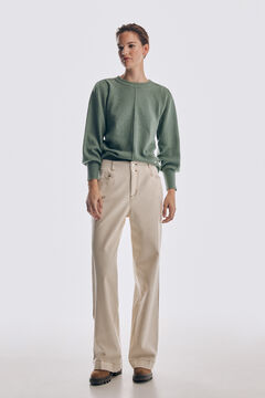 Pedro del Hierro Jumper with pleated shoulder pads and puffed sleeves Green